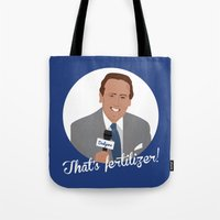 scully Tote Bags featuring Vin Scully by Eric J. Lugo