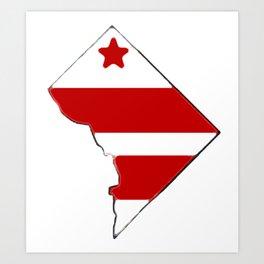 Washington DC District of Columbia Map with Flag Art Print