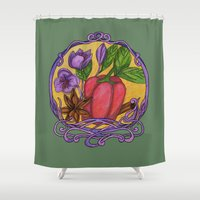 art nouveau Shower Curtains featuring Art nouveau. Spices by Mari Anrua