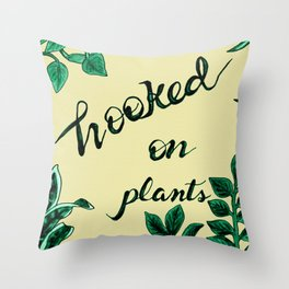 Hooked On Plants In Yellow Throw Pillow