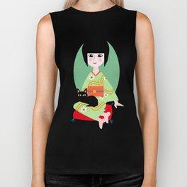 Japanese girl and kitty Biker Tank
