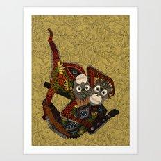 orangutans gold Art Print