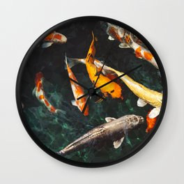 Geometric Koi Fishes Wall Clock