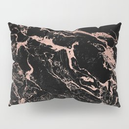Modern girly faux rose gold foil black marble Pillow Sham