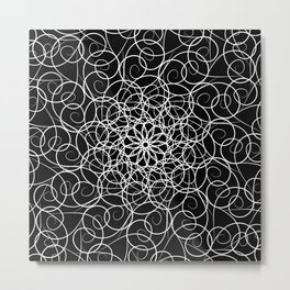 White florid pattern. abstract black and white fractal background pattern in florid Metal Print