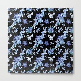 Orchid chic decor (blue & black palette) Metal Print