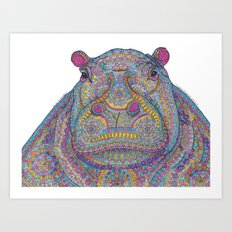 Hippie-Potamus (Multicolour) Art Print