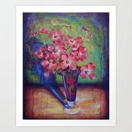 Dogwood flowers in a vase Art Print