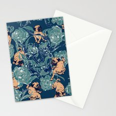 Climbing Pug & Floral Stationery Cards