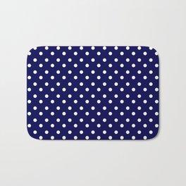 White & Blue Navy Polkadot Pattern Bath Mat
