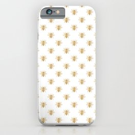 Gold Metallic Faux Foil Photo-Effect Bees on White iPhone Case