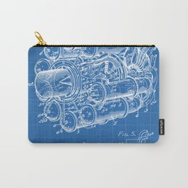 Airplane Jet Engine Patent - Airline Engine Art - Blueprint Carry-All Pouch