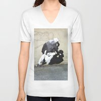 banksy V-neck T-shirts featuring BANKSY  by Art Ground