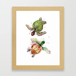 Turtles, Olive Green Cherry Colored Sea Turtles, turtle Framed Art Print