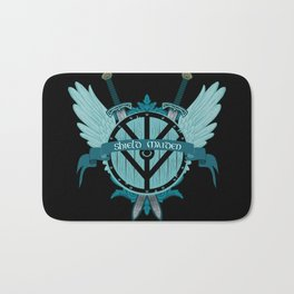 Shield Maiden Winged Teal Viking Shield Bath Mat