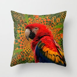 RED JUNGLE MACAW PATTERN ABSTRACT Throw Pillow