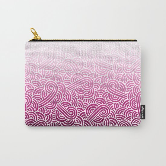 Ombre pink and white swirls doodles Carry-All Pouch