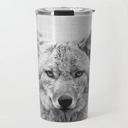 Coyote - Black & White Travel Mug