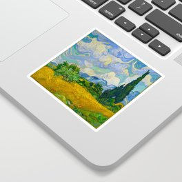 Wheat Field with Cypresses Vincent van Gogh Oil on canvas 1889 Sticker