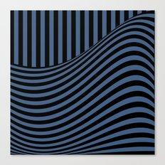 Blue , black , striped Canvas Print