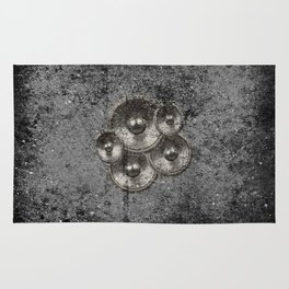 Music speakers on a concrete wall Rug