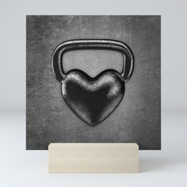 Kettlebell heart / 3D render of heavy heart shaped kettlebell Mini Art Print