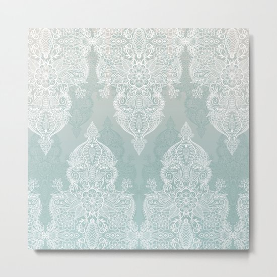 Lace & Shadows - soft sage grey & white Moroccan doodle Metal Print