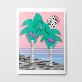 Most Definitely - palm tree throwback memphis style retro art print 80s 1980 neon  palm springs Metal Print