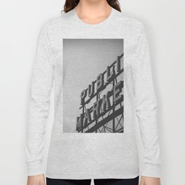 Seattle Pike Place Public Market Black and White Long Sleeve T-shirt