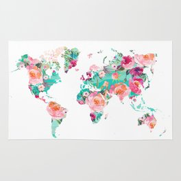 Watercolor floral world map Rug