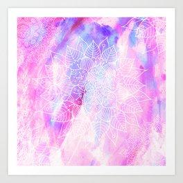 Modern hand painted pink lilac watercolor mandala pattern Art Print