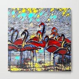 Color Kick Flamingos Metal Print