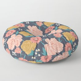 Paint by Numbers Florals on Navy Floor Pillow