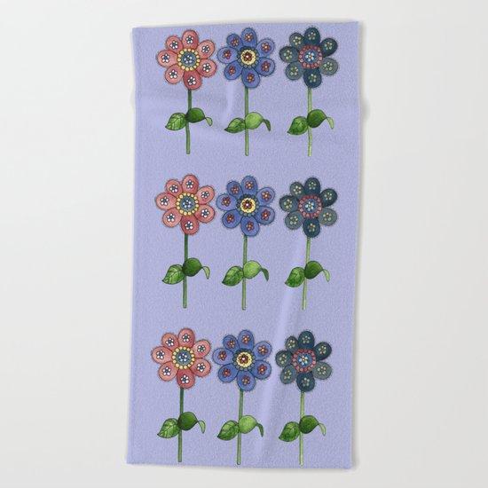 Flower Row Beach Towel