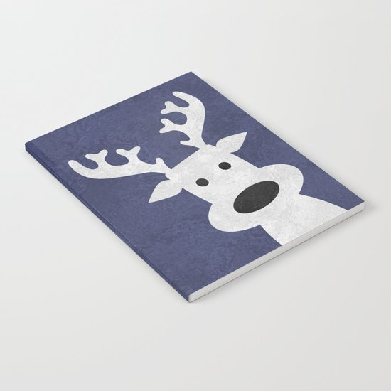 Christmas reindeer blue marble Notebook