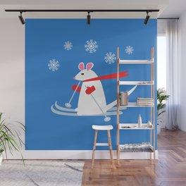 Christmas Mouse on Skis Wall Mural