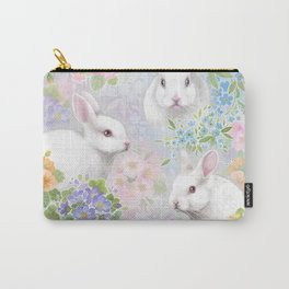 Spring white rabbits in pastel colors Carry-All Pouch