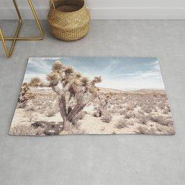 Cactus Closeup // Dusty Blue Sky Desert Landscape Yellow Tan Southwest Vibes Rug