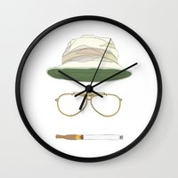 fear and loathing Wall Clocks featuring Movie Icons: Fear and Loathing in Las Vegas by Raquel Sanchis