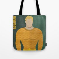 aquaman Tote Bags featuring Aquaman by Loud & Quiet