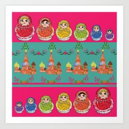 Russian Rainbow Matryoshka Art Print