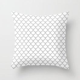 Scales (Gray & White Pattern) Throw Pillow