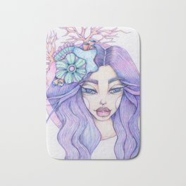 JennyMannoArt Colored Graphite/Keira the Mermaid Bath Mat