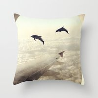 dolphins Throw Pillows featuring Dolphins by Paula Belle Flores