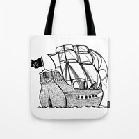 pirate ship Tote Bags featuring Pirate Ship by Addison Karl
