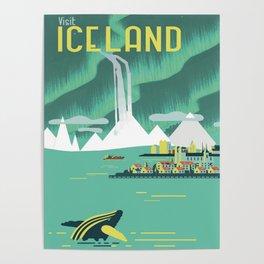 Vintage Mid Century Modern Iceland Scandinavian Travel Poster Ocean Whale Winter Village Poster