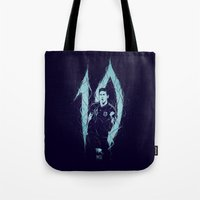 messi Tote Bags featuring Messi by Andres Moncayo