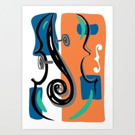 Scroll Pride - violin viola cello love - orange and teal Art Print