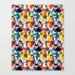 Rabbit colored pattern no2 Canvas Print