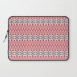 Vintage red blue ivory abstract Christmas pattern Laptop Sleeve